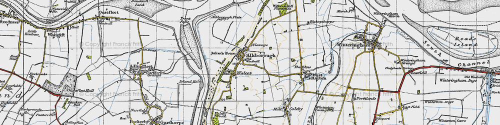 Old map of Alkborough in 1947