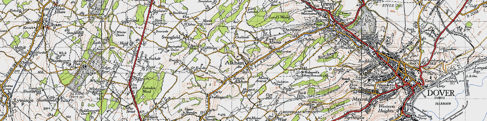 Old map of Alkham in 1947