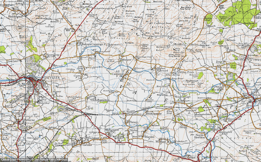 Old Map of Historic Map covering All Cannings Br in 1940