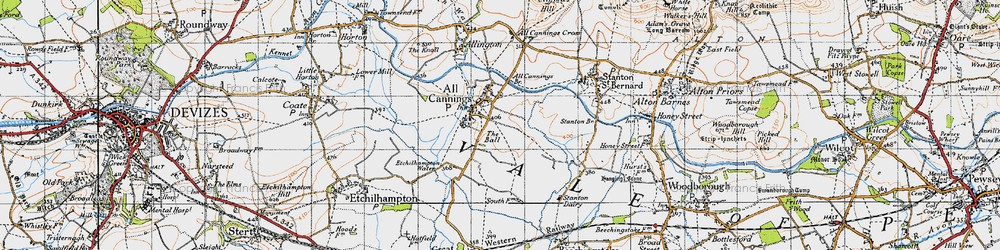 Old map of All Cannings Br in 1940