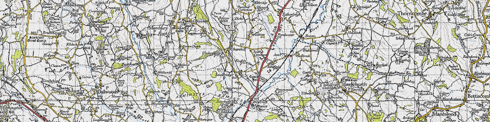 Old map of All Saints in 1945