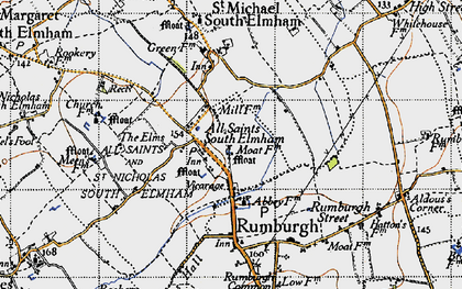 Old map of All Saints South Elmham in 1946