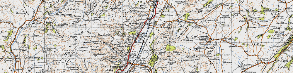 Old map of All Stretton in 1947