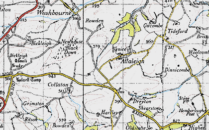 Old map of Allaleigh in 1946
