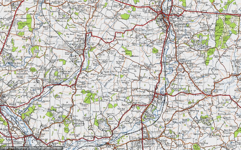 Old Map of Allen's Green, 1946 in 1946