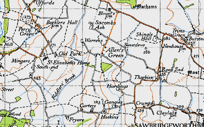 Old map of Allen's Green in 1946