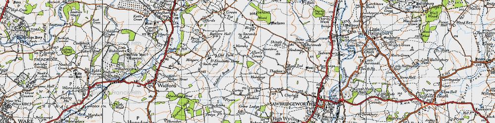 Old map of Allen's Green in 1946