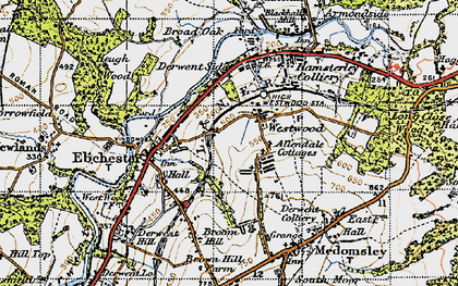Old map of Allendale Cottages in 1947