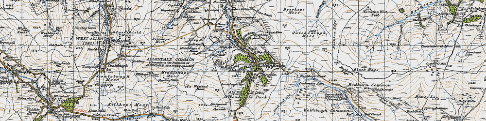 Old map of Allenheads in 1947