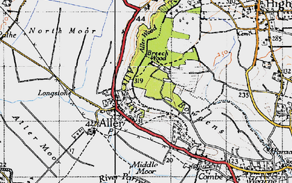 Old map of Aller Wood in 1945