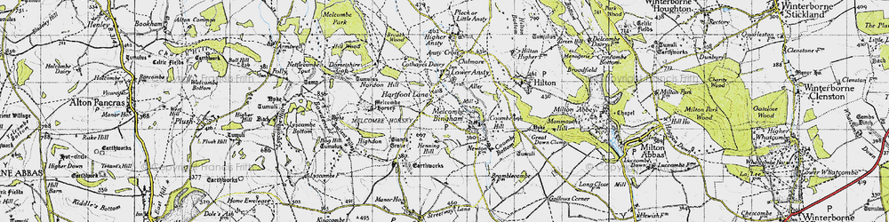 Old map of Aller in 1945
