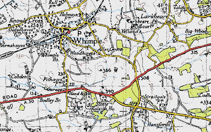 Old map of Whimple Wood in 1946