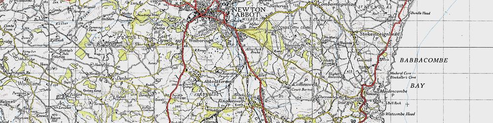 Old map of Aller Park in 1946