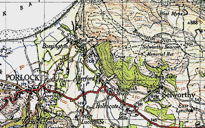 Old map of Allerford in 1946