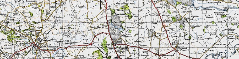 Old map of Allerton Mauleverer in 1947