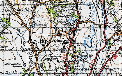 Old map of Allestree Park in 1946