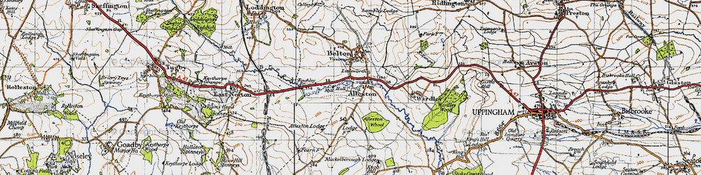 Old map of Allexton in 1946