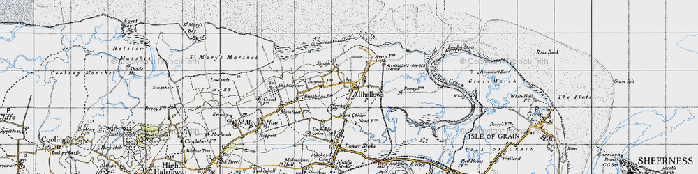 Old map of Allhallows in 1946