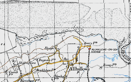 Old map of Allhallows-on-Sea in 1946