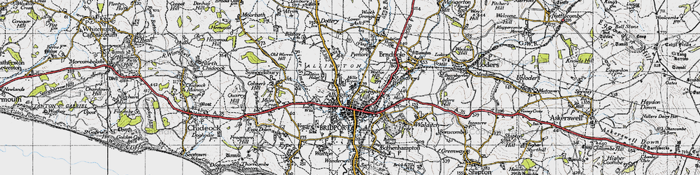 Old map of Allington in 1945
