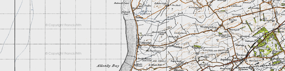 Old map of Allonby in 1947