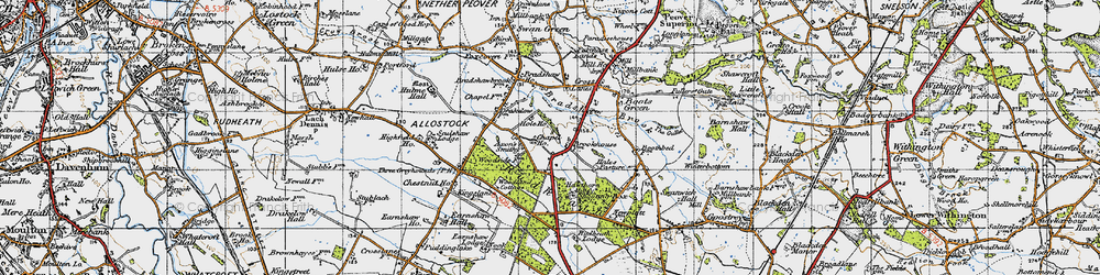 Old map of Allostock in 1947