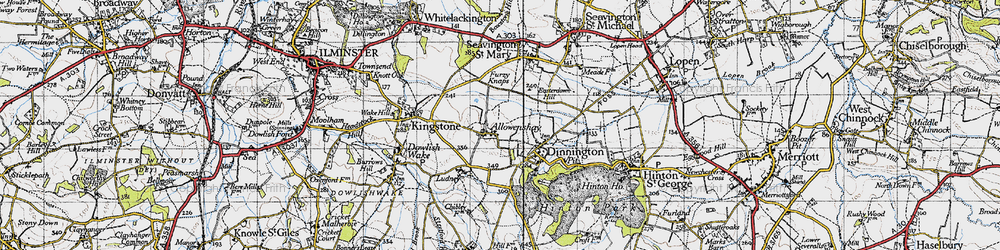 Old map of Allowenshay in 1945