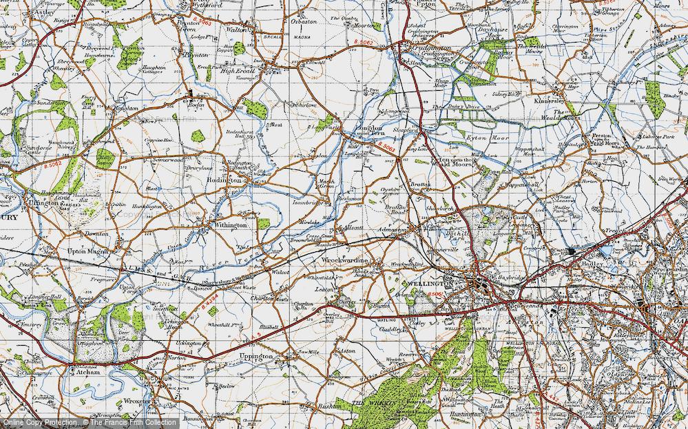 Old Map of Allscott, 1947 in 1947