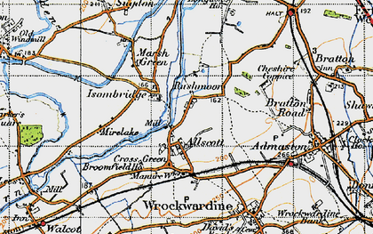 Old map of Allscott in 1947