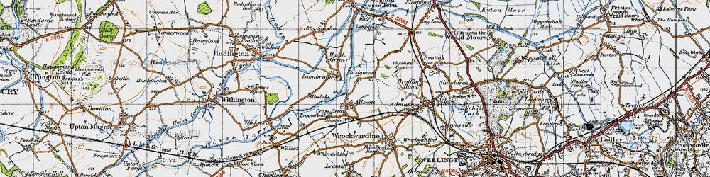 Old map of Allscott in 1947