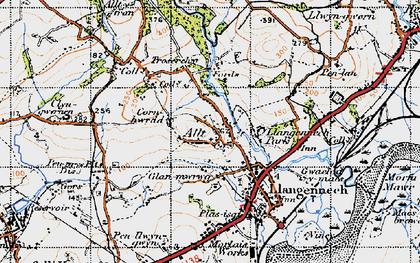 Old map of Allt-y-frân Fawr in 1947