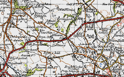 Old map of Tirlasgoch in 1947