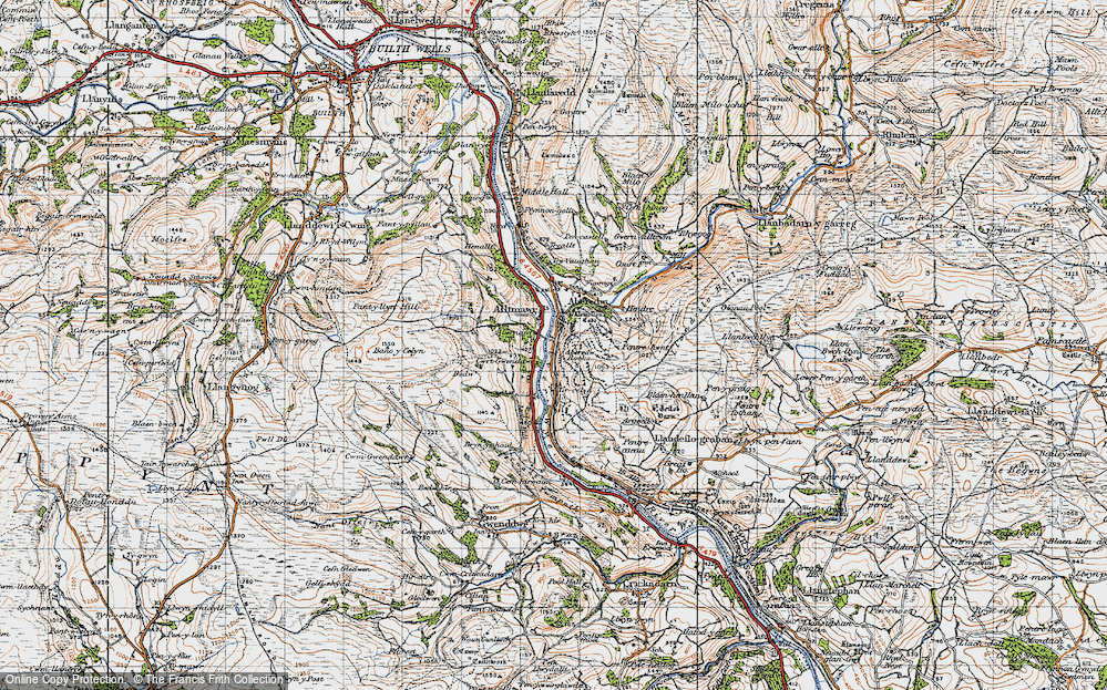 Old Map of Historic Map covering Tircelyn in 1947