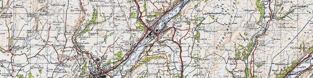 Old map of Alltwen in 1947