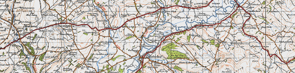 Old map of Alltyblaca in 1947