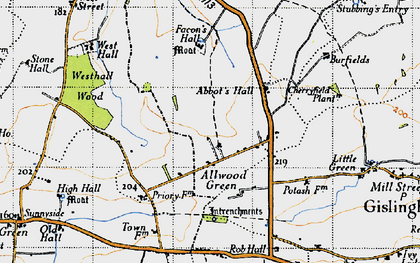 Old map of Allwood Green in 1946