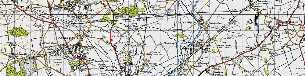 Old map of Almholme in 1947