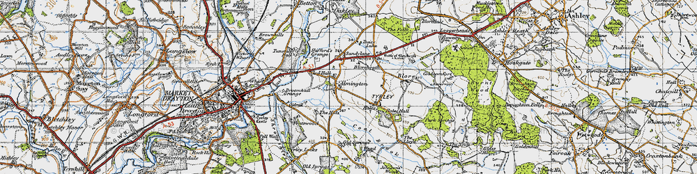 Old map of Almington in 1946