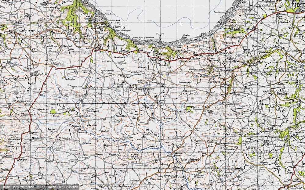 Old Map of Alminstone Cross, 1946 in 1946