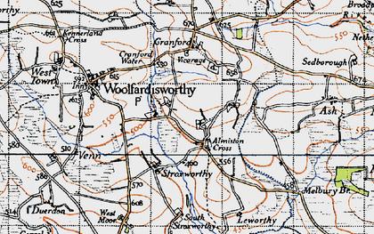 Old map of Alminstone Cross in 1946