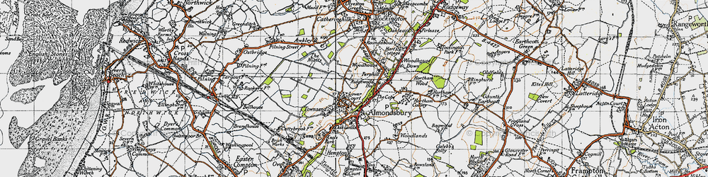 Old map of Almondsbury in 1946