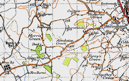 Old map of Almshouse Green in 1945