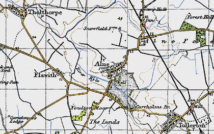 Old map of Alne in 1947