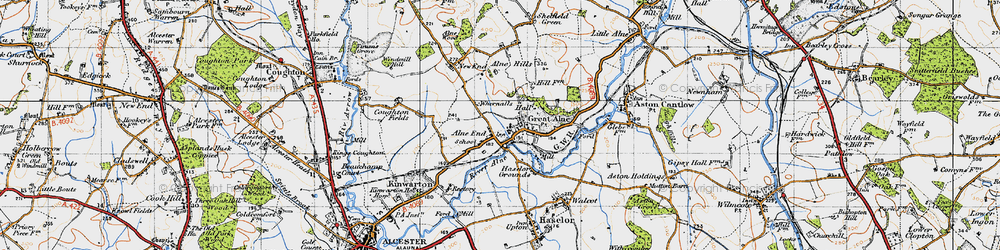 Old map of Alne End in 1947