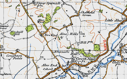 Old map of Alne Hills in 1947