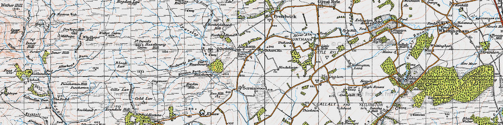 Old map of Alnham Ho in 1947