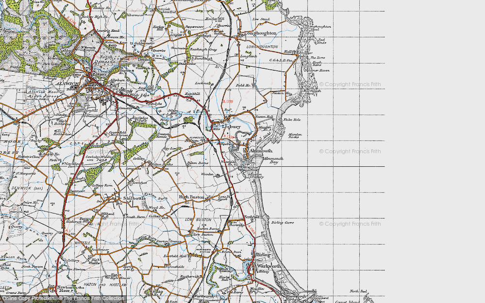 Old Map of Alnmouth, 1947 in 1947