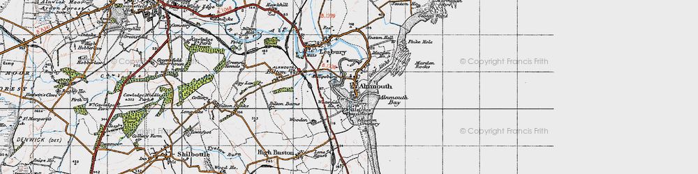 Old map of Alnmouth in 1947