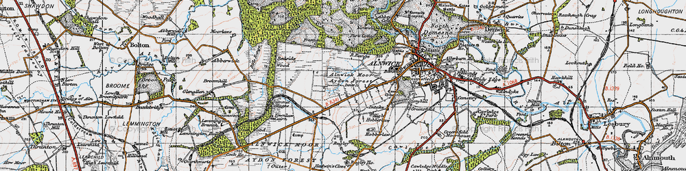 Old map of Alnwick Moor in 1947