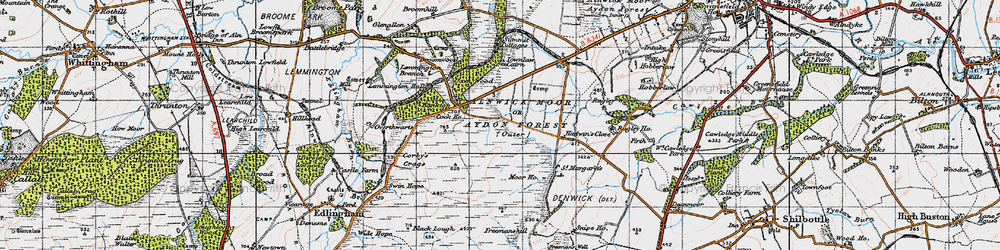 Old map of Lemmington Branch in 1947